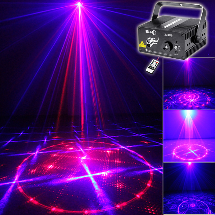 SUNY Lighting 3 Lens 24 Pattern Stage Home Party Club RB Laser Blue LED Professional Projector illumination DJ Light Disco Z24RB