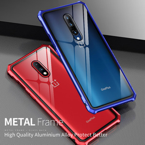 Image 1 - Luxury Hard Armor Metal Bumper Case For Oneplus 7 Pro Shockproof 9H Tempered Glass Case For One Plus 7 Pro Full Glass Cover