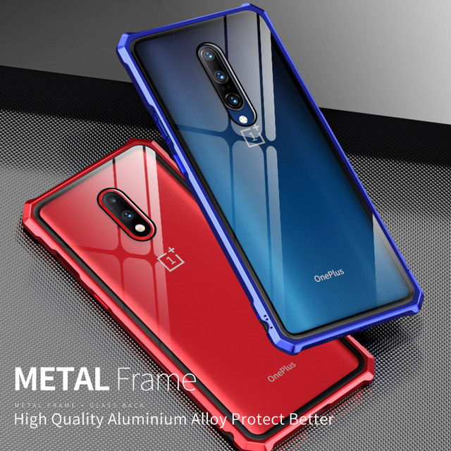 Luxury Hard Armor Metal Bumper Case For Oneplus 7 Pro Shockproof 9H Tempered Glass Case For One Plus 7 Pro Full Glass Cover