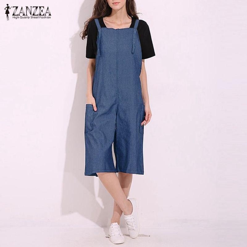 Rompers Womens Jumpsuit 2018 ZANZEA Sexy Vintage sin mangas correa ajustable pierna ancha Denim sólida trajes gran tamaño