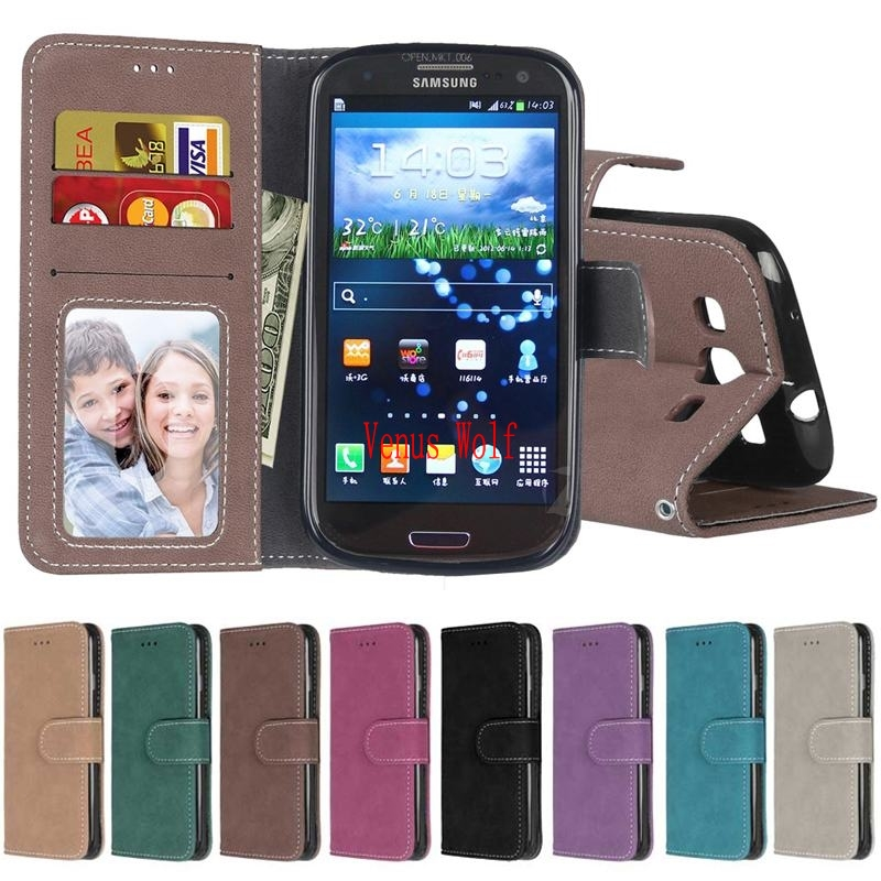 For Coque Samsung Galaxy S3 S3 Mini i8190 GT-i8190 i9301 S3neo cover for Samsung Galaxy S3 S3 neo Frosted Leather Case Holder image
