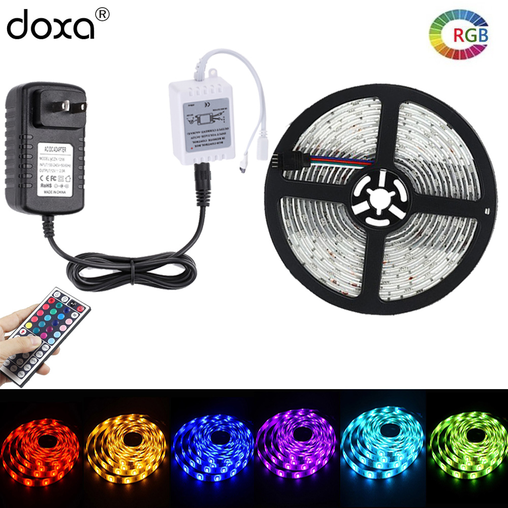 BLYN 10M 5050 LED Strip Lights RGB Waterproof 30LED/M 2M 5M LED Tape + 44Key IR Remote RGB Controller +AC/DC 12V Power Supply dhl eub 5pcs new original for omron photoelectric switch ee sy671 ee sy671 15 18