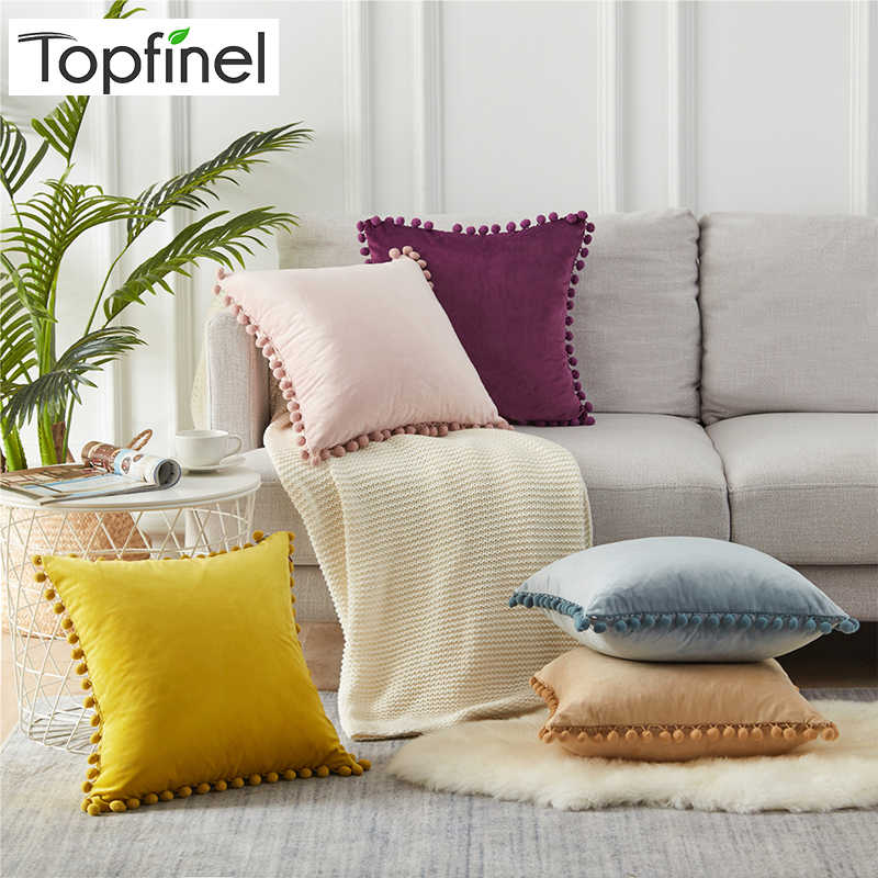 Topfinel Soft Velvet Pillow Cover Cushion Cover Luxury Square decorative Pillows With Balls For Sofa Bed Car Home Throw pillows