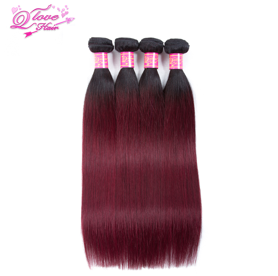 Queen Love Hair Pre-Colored Ombre Brazilian Hair Straight Wave 4 Bundles 1B/99J Human Hair No Remy Extensions Free Shipping