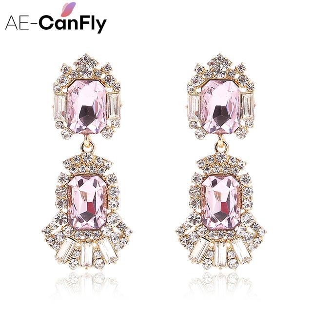 AE-CANFLY Luxury Vintage Pink Rhinestone Earrings Crystal Earrings  For Women Drop Accessories Party Gift Bijoux