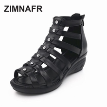 ZIMNAFR BRAND WOMEN SANDALS 2017 NEW diamond authentic sandals BLACK GENUINE LEATHER SUMMER SHOES PLUS SIZE 35-41