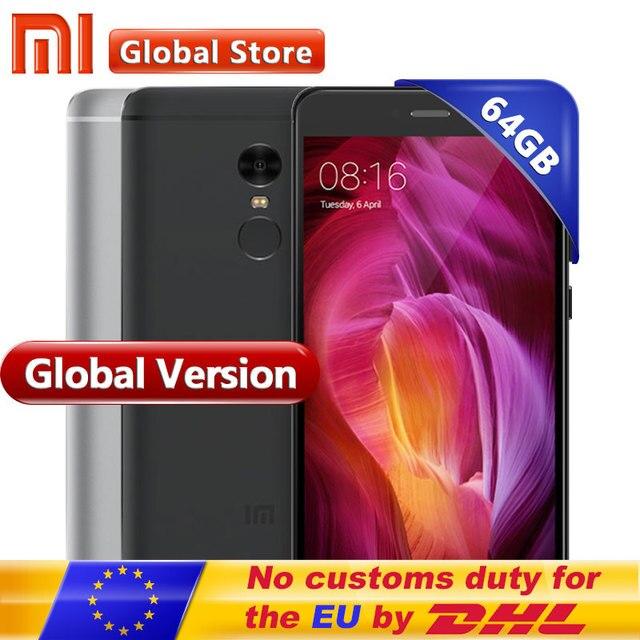"""Глобальная версия Xiaomi Redmi Note 4 Note4 4 ГБ 64 ГБ Встроенная память мобильного телефона Snapdragon S625 Octa Core 5.5"""" FHD MIUI8 13.0MP телефона Android"""
