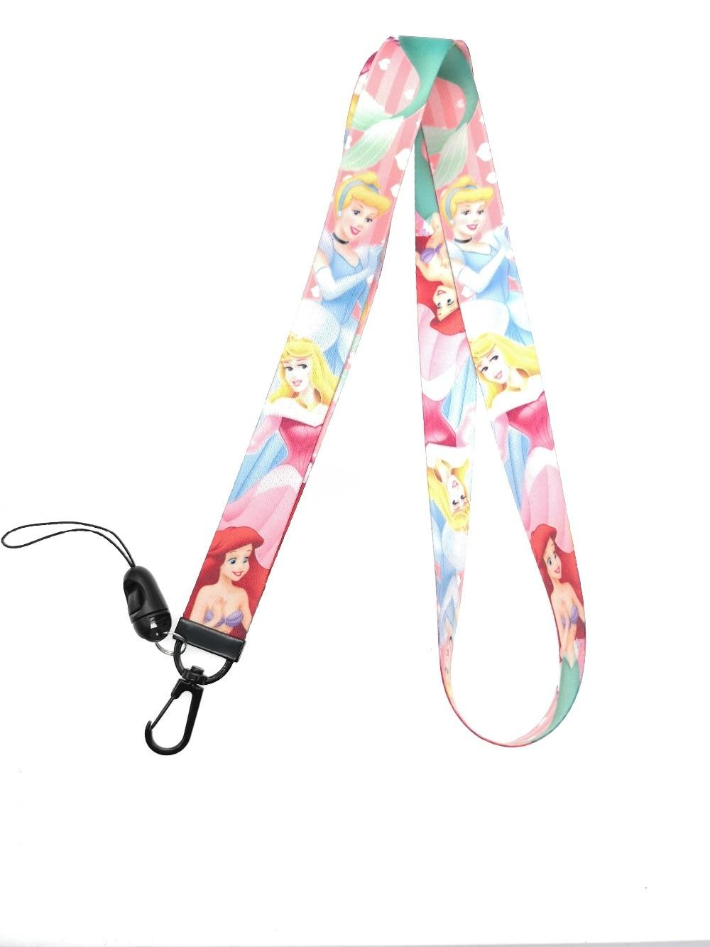 Lot  little mermaid Princess Lanyard  Neck Strap ID Badge Charms KeyChain Gift