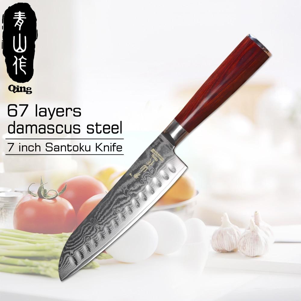 Damascus Knives 7 Santoku Knife QING Japanese Kitchen Knife VG10 67 Layer Damascus Steel Knives Ultra