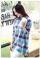 2017 Nuevo Estilo de la Primavera Otoño de Manga Larga de Cuello Camisa de Tela Escocesa Mujeres Ropa de Algodón de Moda Tops Tallas grandes
