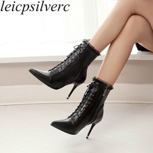 Women's Boots Winter Super High Heel Lace Up Mid-Calf Pointed Toe 2018 Zip Sexy Fashion Autumn Shoes White Black Big Size 34-46 цена 2017