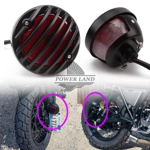 Per Harley Bobber Chopper Via Bob GN CG Yamaha Suzuki Ombra Moto Nero Griglia Retro Luce della Coda Del Freno Lente Rossa 1pcs MOTCAR CO