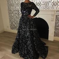 Arabic Muslim Black Evening Dresses 2018 New Dubai Turkish Sequins Prom Dress Couture Glitter Formal Party Gowns Robe de soiree