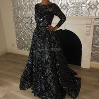 Arabic Muslim Black Evening Dresses 2018 New Dubai Turkish Sequins Prom Dress Couture Glitter Formal Party Gowns Robe de soiree