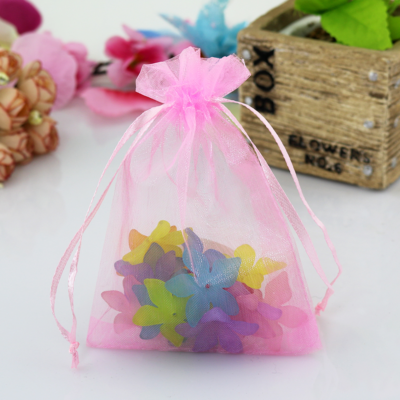 Pink Organza Bags 9x12cm Small Jewelry