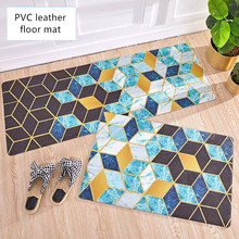 Nordic ins style Kitchen mat Oil proof waterproof PVC leather non-slip floor Entrance Diamond-shaped marble texture carpet