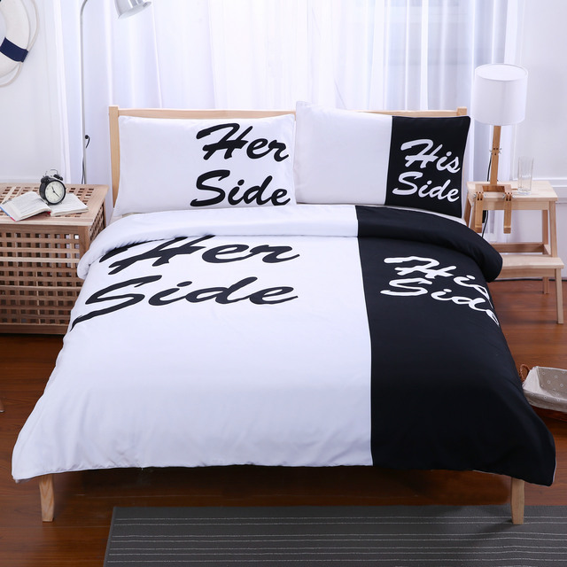 Black White Style Her Sidehis Side 3pcs Bedding Sets Double Bed