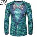 SR. JIM 2017 Estilo Británico Hombres de la camiseta de otoño Para Hombre de La Moda 3D Impreso Falso Traje traje Camiseta Ocasional de Manga larga Del O-cuello camiseta