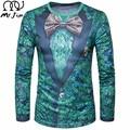 SR. JIM 2017 Estilo Britânico camisa de T Dos Homens Mens Moda outono 3D Impresso Falso Terno terno Camiseta Casual Manga comprida O Pescoço T-shirt