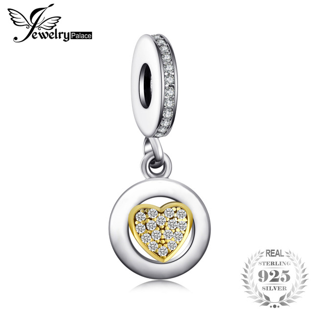 Jewelrypalace Beads Charms Fit Bracelets 925 Sterling Silver Glitter Gold Murano Glass Heart Gifts For Women Fashion Jewelry