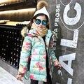 Fantasia Floral do Inverno Da Menina Casaco de Algodão Engrossar Quente Com Capuz Collar Cardigans Casacos para As Meninas de Natal Princesa do Inverno Jaqueta