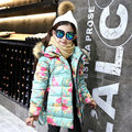 Fantasy Floral Girl Winter Coat Cotton Thicken Warm Hooded Collar Cardigans Outerwear for Girls Christmas Princess Winter Jacket