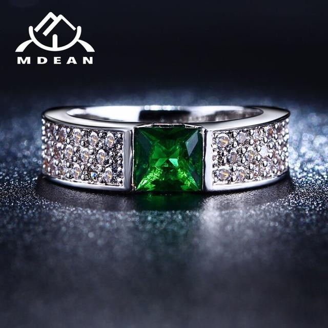 MDEAN Rings for Women Green White Gold Color Women Rings AAA Zircon Jewelry Wedd