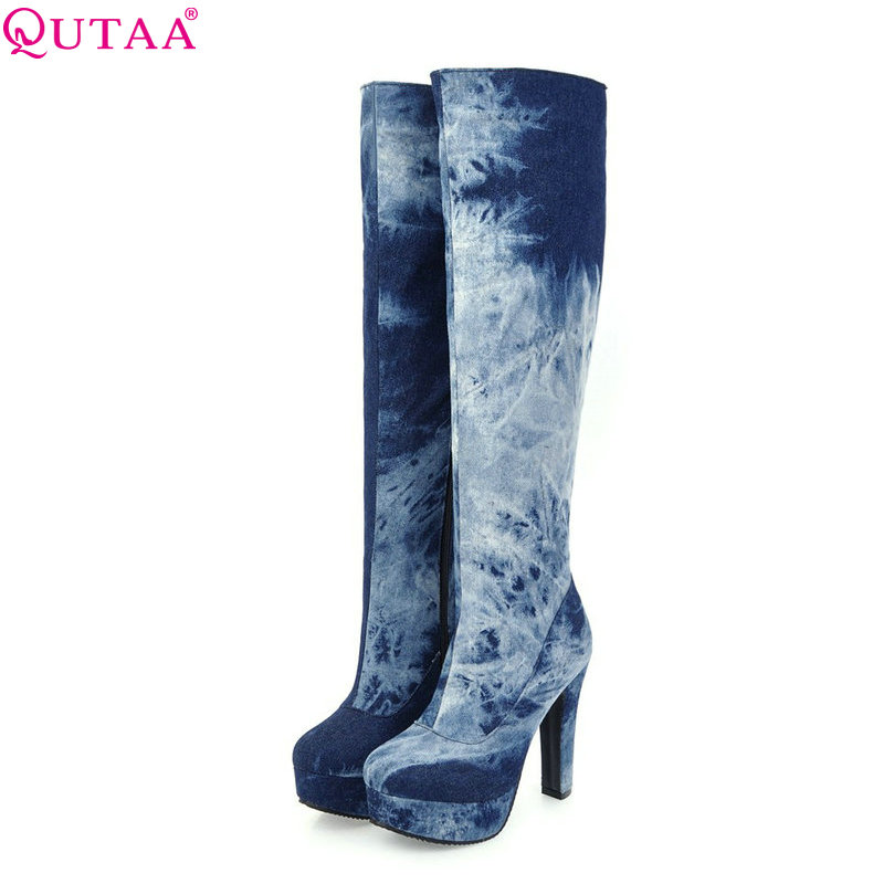 QUTAA 2018 Denim Leather Women Over The Knee High Boots Square High Heel Platform Round Toe Blue Women Boots Size 34-43
