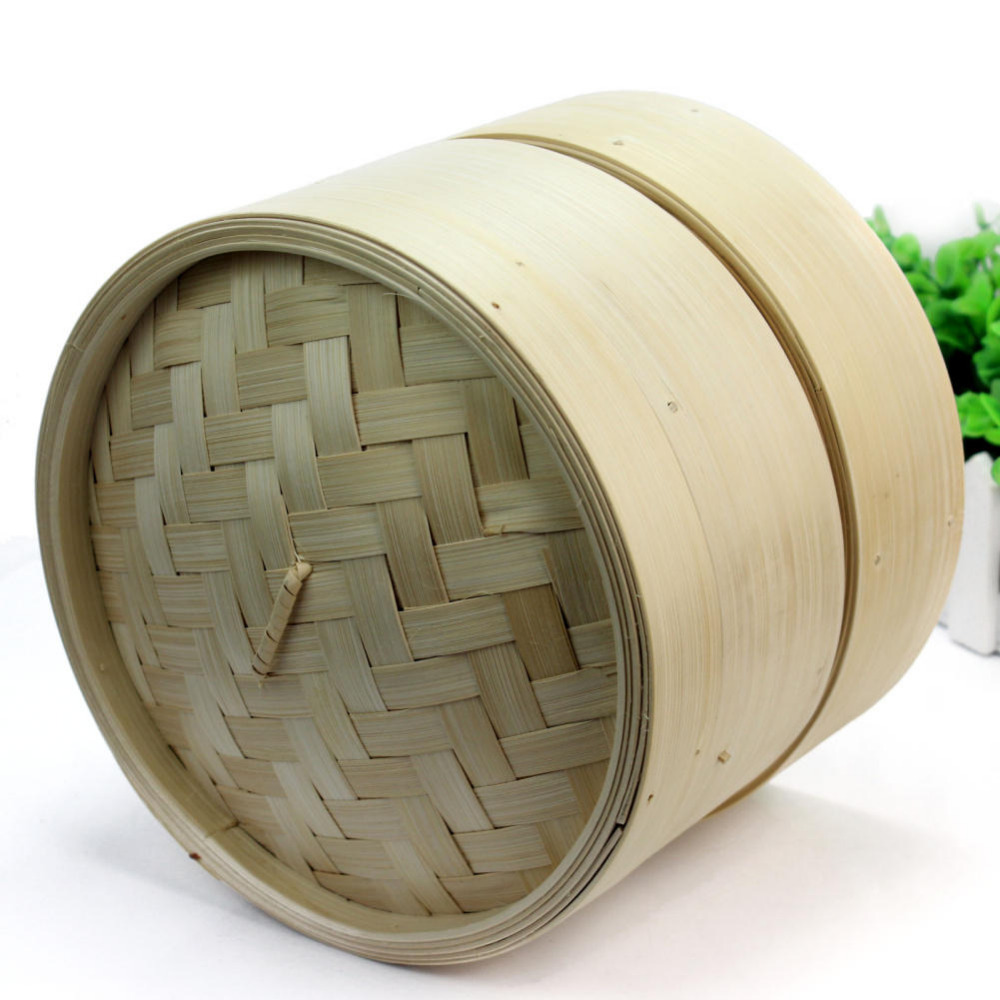 2 Tier Bamboo Steamer Chinese Kitchen Cookware Fish Rice Dim Sum Basket Rice Pasta  Steamer Rack Steaming Tray With Lid