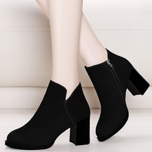 New Chelsea Boots Women Autumn Black Ankle Boots Female Genuine Leather Boots Winter Square High Heel Shoes YG-B0028 kickway 2018 slip on stretch band rubber boots winter ankle chelsea boots women shoes autumn square heel female footwear 34 42