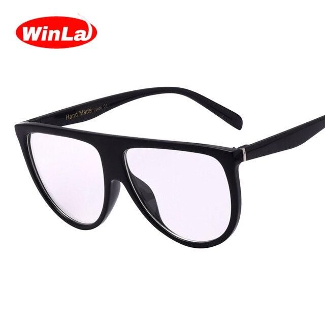 Winla Gafas Lentes planas superiores Nerd Gafas de Marco de La ...