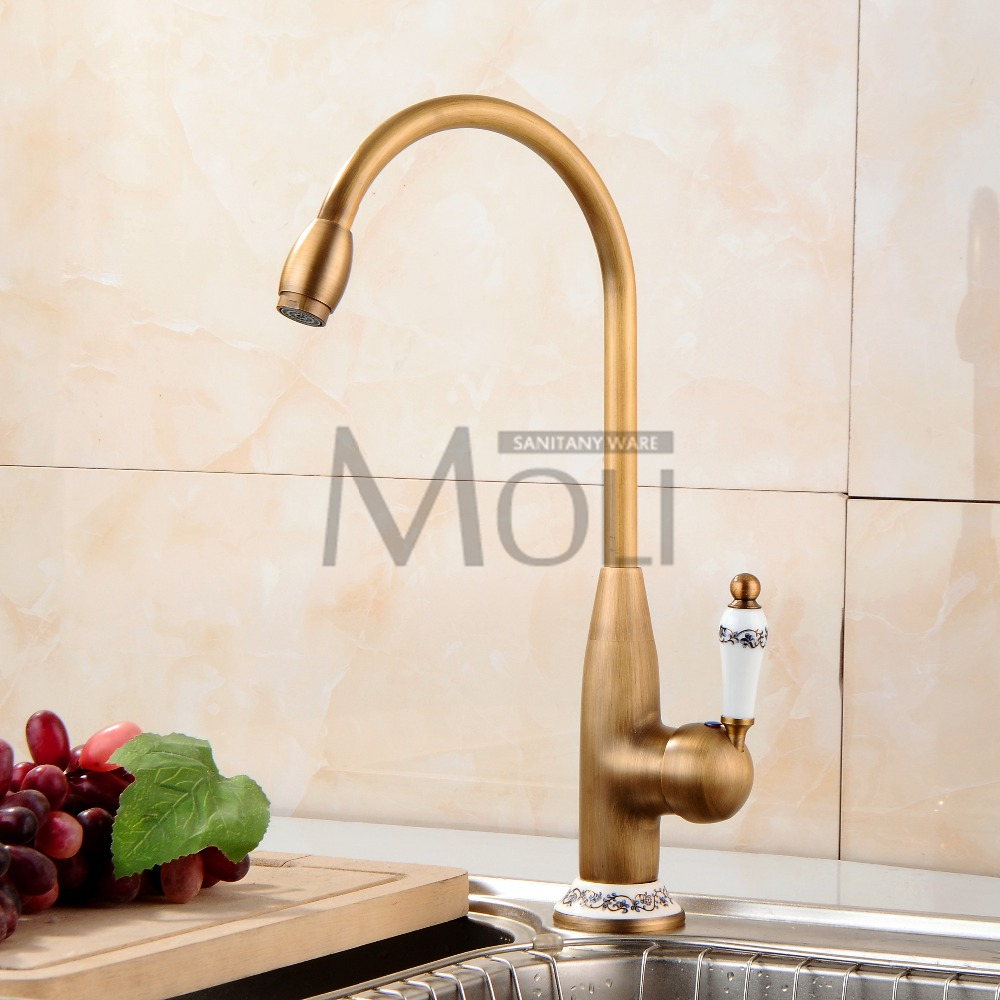 Antique brass kitchen faucet single handle single hole kitchen tap 360 degree rotation spout cold and hot water mixer in kitchen faucets from home