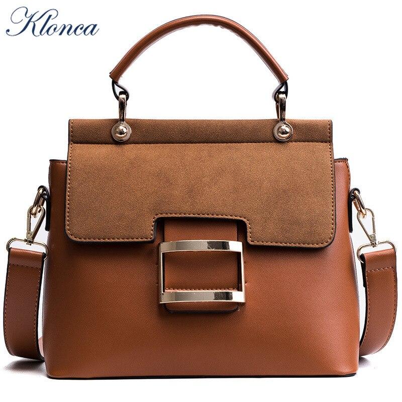 Klonca PU Leather Female Shoulder Bag 2019 New Fashion Wide Strap Portable Small Square Freeshipping Handbag