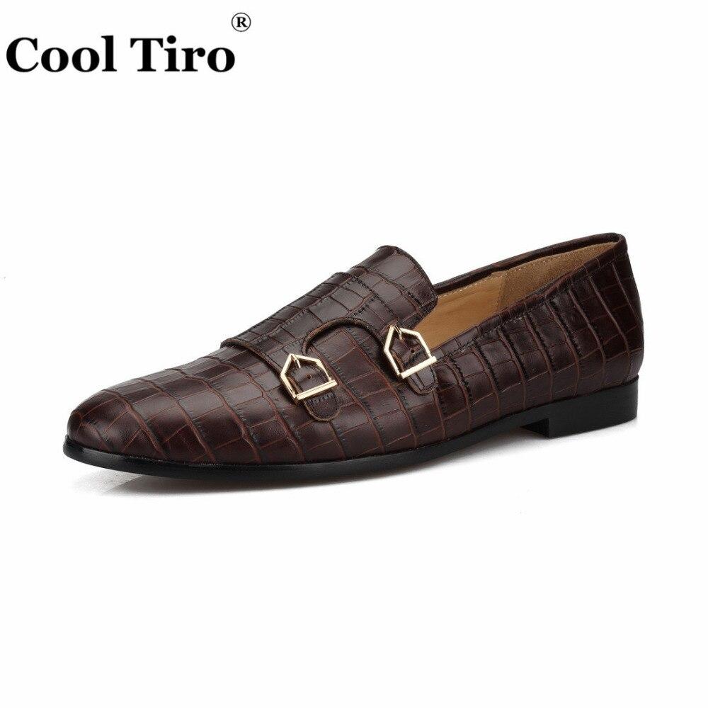 Fajne TIRO krokodyl drukuj Double Monk mokasyny męskie mokasyny smokingowe kapcie suknia ślubna buty męskie mieszkania buty w stylu casual skórzane w Męskie nieformalne buty od Buty na  Grupa 3