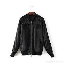 Men And Women Autumn Fashion Basic Military Black Bomber Coat Baseball Jacket Pilot Windbreaker Cardigan Embroidery Overcoat