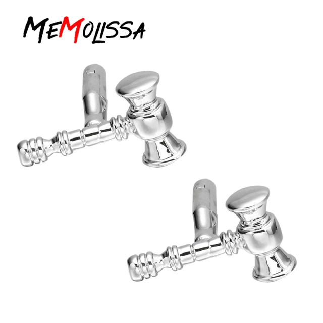 Memolissa 3 Pairs Cufflinks Silver Copper Hammer Design Cuff Links Wholesaleretail