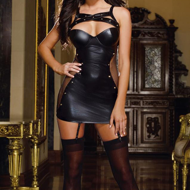 Hot Sexy Lingerie Black Latex Pvc Party Dress Leather Latex Lingerie Sexy Hot Erotic Club Dress Women Costume Erotic Catsuit New