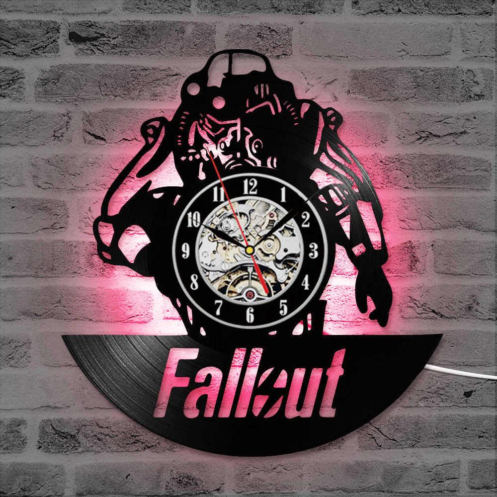 Fallout Trò Chơi CD Ghi Đồng Hồ Đen Hollow LED Vinyl Kỷ Lục Đồng Hồ Treo Tường Sáng Tạo Cổ Treo Đồng Hồ Treo Tường Trang Trí GiftsClock