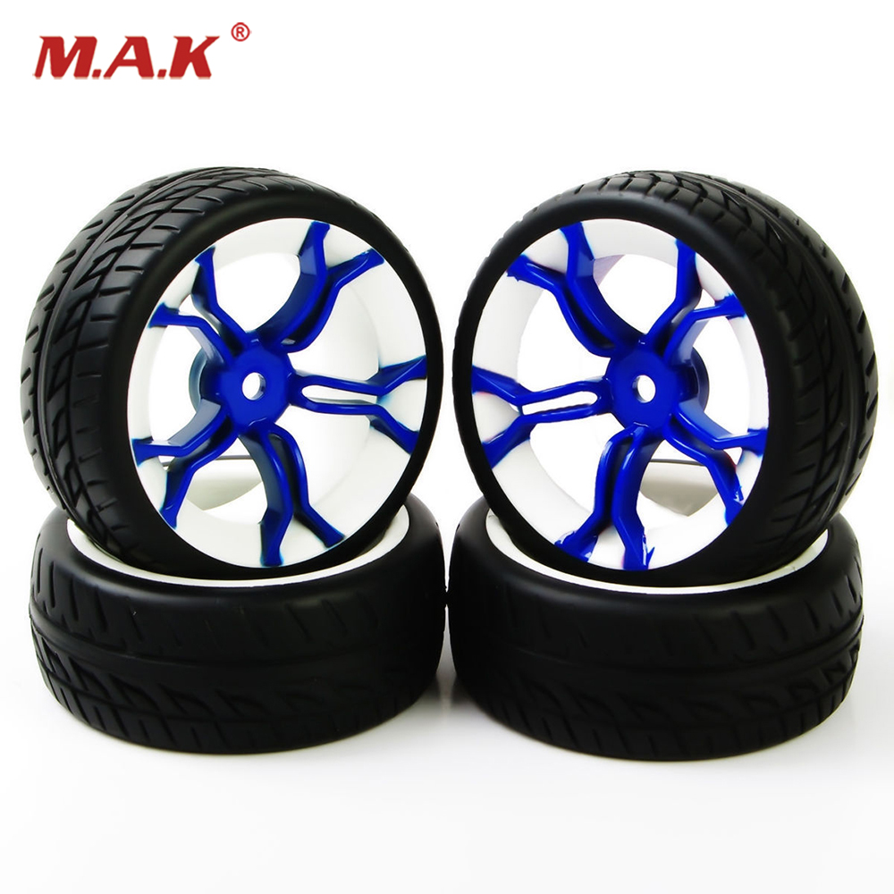 4 Pcs/Set 12mm Hex 1/10 Scale Rubber Tires Wheel Rim For HSP HPI RC 1:10 Flat Racing On Road Car Model Kids Toys Accessories C 1 10 rubber on road racing car model replacement tire black 4 pcs