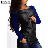 Blusas Femininas 2017 Autumn Women Shirts Long Sleeve PU Leather Patchwork Blouses Fashion Casual Loose Tops Plus Size Top