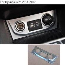 Car ABS chrome control Socket Charge cigarette smoke lighter switch frame Stick trim part For Hyundai IX25 2014 2015 2016 2017