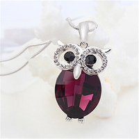 Vintage Fashion Jewelry Chains Long Necklace Women Austrian Crystal From Swarovski Sweater Chain Owl Necklace Pendants