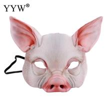 Pig Head Masks Mascaras Animales Cute Halloween Mask Prop Party Carnival Unisex Accessories Tools Eva Realistic Eye Masker