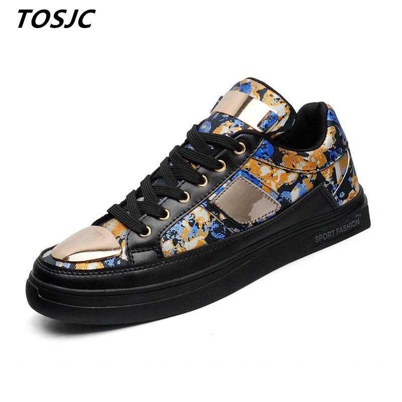 TOSJC חיצוני אופנה גבר מזדמן Sneaker תחרה עד גופר העליונה הדפסת נעלי Zapatos Hombre נעליים בגיל ההתבגרות