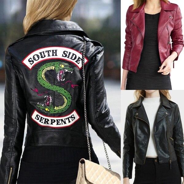 plus récent 572e2 84265 € 19.64 35% de réduction|Hot TV Play 2019 nouveau printemps Riverdale  Southside Serpent Kpop Fans Zipper veste en cuir synthétique polyuréthane  femmes ...