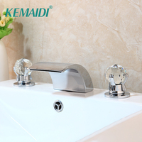 KEMAIDI Deck Mounted 3 Pcs Set Faucet Waterfall Spout With Hand Sprayer Bathroom Tub Faucet Bath Shower Set