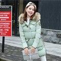 Зима 2016 женщин пальто хлопка толстые теплые полный рукав кнопка молнии карманы вниз мода slim пальто