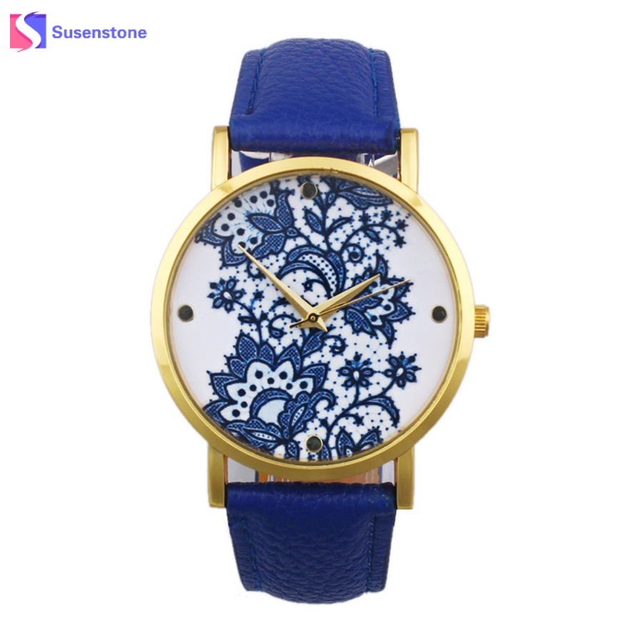 Women Fashion Quartz Wrist Watch Lace Flower Printed Leather Band Ladies Casual Analog Women's Watches montre femme reloj New newly design dress ladies watches women leather analog clock women hour quartz wrist watch montre femme saat erkekler hot sale