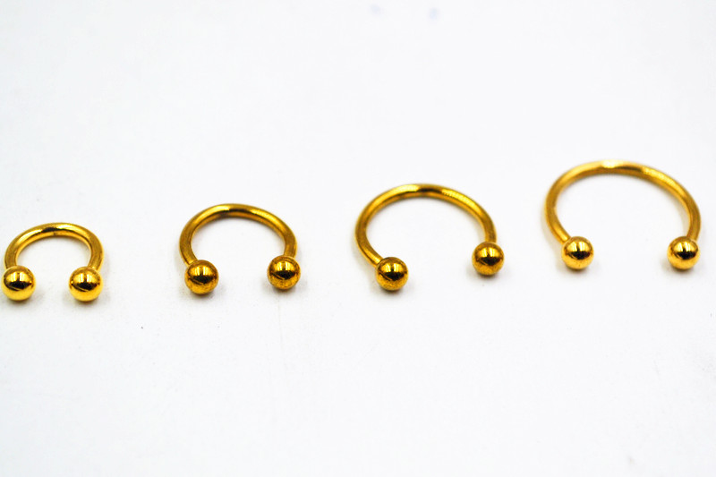 50pcs Free Shippment Gold Pated Surgical Steel Circular Barbells Horseshoe Nose Ring Lip Ring,BCR Piercing earring tragus ring