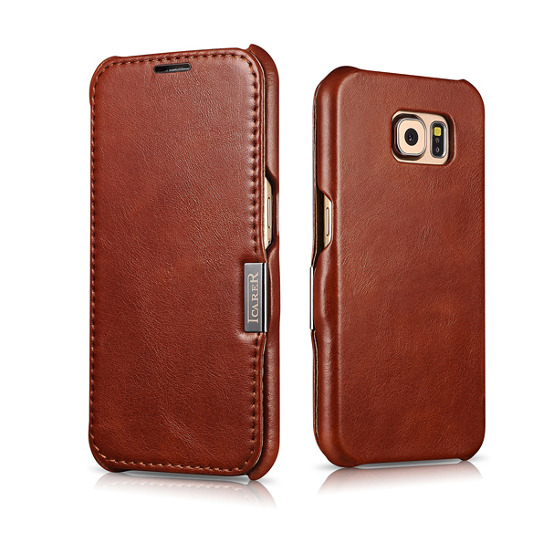 Advanced Customization 4 Color ICARER  Vintage Series Genuine Leather Filp Cover Case For SAMSUNG Galaxy S6 Case